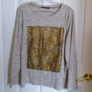 Marks&Spencer Long Sleeved Tee w/ Gold Brocade XL